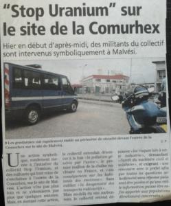 Stop uranium sur le site de la comurhex - independant - 20 juin 2013