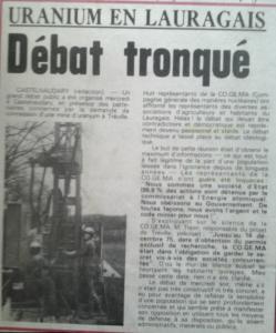 uranium en lauragais lindependant otobre 1984