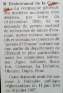 Desistement de la Cogema - midi libre 23 mars 2000